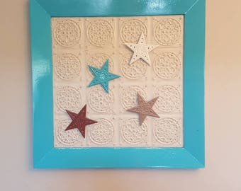 Country Rustic Magnetic Board, Magnetic stars memo board framed, Wood and Metal message center,wall decor, metal ceiling tile,Wood frame