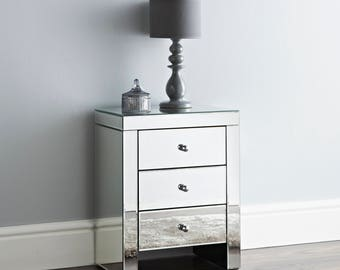 NICHES set of 2 Mirror Bedside Tables 3 Draws with New Built in USB