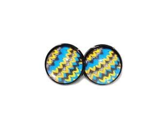 Stud Earrings - African Stud Earrings - African Earrings - Ankara Stud Earrings - Ankara Earrings - Chevron Earrings - Round Earrings