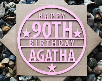 Personalised Happy 90th Birthday Card, 90th Birthday Cards, Laser Cut, Birthday Card, Personalised card, 90th Birthday, Magnet Birthday Card