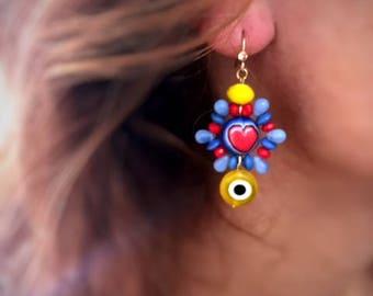 Heart Earrings, evil eye earrings, bohemian crystal earrings, boho chic style earrings.