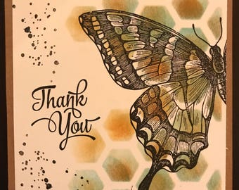 """Thank You """"Swallowtail"""" Set of 4 cards 