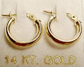 New 14kt Gold Hoop Earrings for Baby 11mm - Free Shipping!