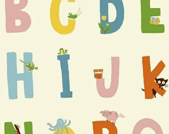 PREORDER - Heather Ross - Alphabet in White - Kinder - (43481-3) - 1/2 Yard++