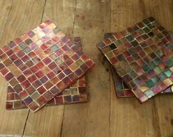 4 beautiful Mosaic Glass Tile Coasters ALL DIFFERENT