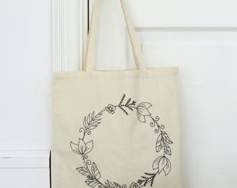 hand printed tote bag // market bag // canvas bag // nature prints