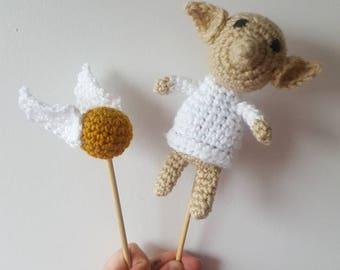 Harry potter inspired cat toy~ dobby~ snitch cat toy~ handmade catnip toy