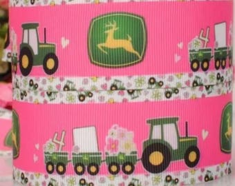 Girly John Deere Tractors with Flowers on Pink Grosgrain Ribbon
