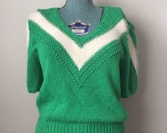 Emerald Green Lillie Rubin Sweater with Angora Chevron / Medium