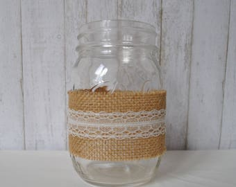 Mason Jar, Burlap, Lace, Centerpiece, Rustic Decor, Rustic Mason Jar, Weddings, Rustic Wedding, Birthdays, Special Event, Home Decor