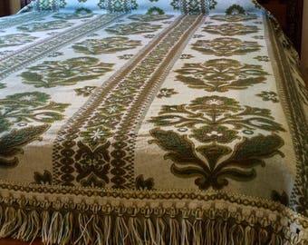 Olive Green Floral Brocade Bedspread