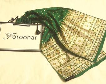 Hand Made, Hand Screen Printed Luxury Silk Scarf- ''Green Celebrations''