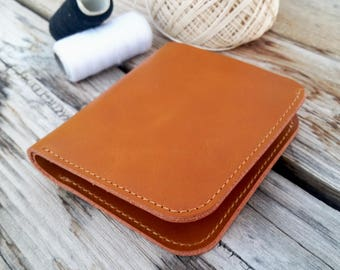Mens leather wallet, bifold leather wallet, beige wallet, card wallet, handmade wallet, small mens wallet, groomsmen wallet, gift for him