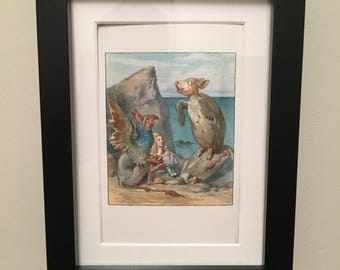 Classic Alice in Wonderland Illustration - framed - Mock Turtle