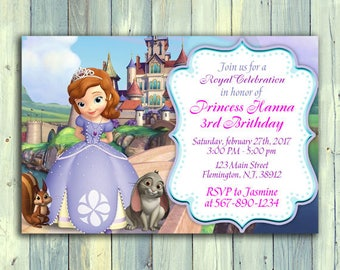 Sofía la primera invitación, invitación de Princesa Sofía, princesa cumpleaños invitación, el primer cumpleaños de Sofia, Sofia la primera parte