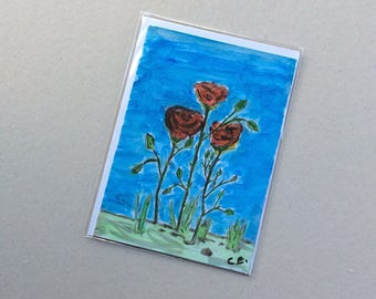 The Roses- Hand Painted Original - Art on a Card -Greeting card