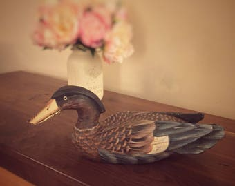 Painted wooden duck