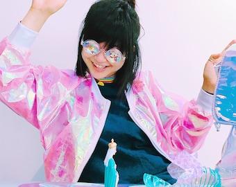 Pink vinyl holographic coat (Pink )