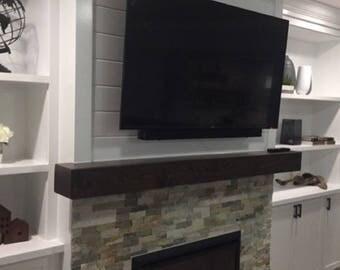 "Dark Walnut fireplace mantel, mantel shelf, floating mantel, floating shelf, fireplace mantle, beam shelf,tv shelf,48""Longx5.5""Deepx5.5""High"
