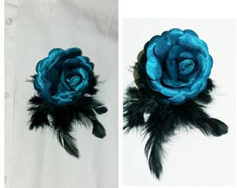 Brooch-Rose-Blue