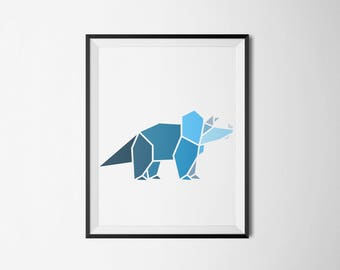 blue,dinosaur, wall art, children's room, minimal, boys room, girls room, shades of blue, artwork