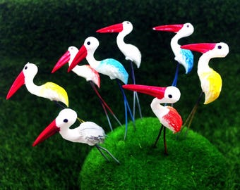 5 Tiny Mixed Color Bird Picks Miniature Dollhouse FAIRY GARDEN Accessories