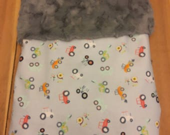 Farming themed baby blanket, tractors