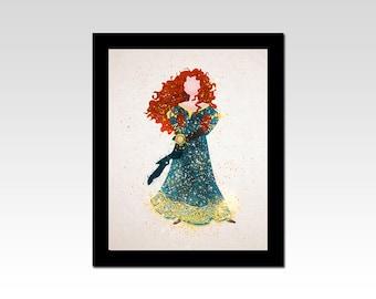 Brave inspired Merida sparkles print