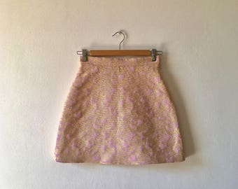 Brocade jacquard skirt pink background