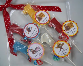 12 Curious George Monkey 1st Birthday Party Favor Gourmet Chocolate lollipops with custom tags