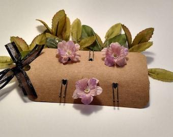 Mauve flower hair pin/ flower hairpin/ wedding hair accessories/ purple flower/ lilac flower hair pin/ spring hair/ summer hair