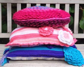Decorative, crochet pillows, set of 3.