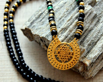 Merkaba necklace and beads