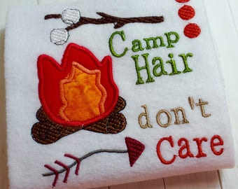 Appliqué camp hair don't care machine embroidery instant download design, embroidery marshmallow, camping smores, appliqué camp fire design