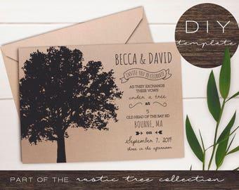 Rustic Tree Wedding - Rustic Tree Collection - Rustic Tree Wedding Invitations - DIY Printable Kraft