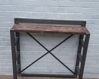 Rustic side table side board using reclaimed wooden boards