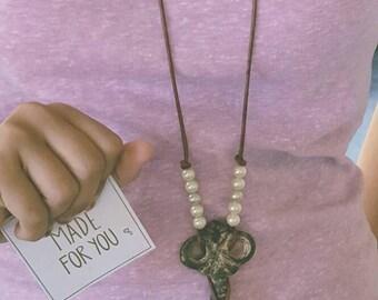 Wrought iron key pendant necklace