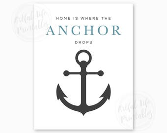 HOME IS WHERE the Anchor Drops, Nautical Decor, Digital Printable, Coastal Home Art, Coastal Colors, Anchor Wall Art, Instant Download