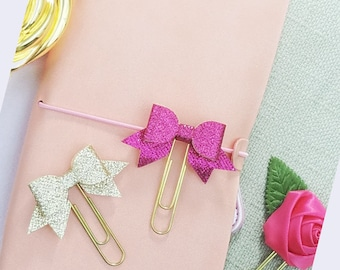 Glitter Planner Paper Clip, Bows Paperclips, TN Charms, Planner Clips, Cute Paperclips, Kawaii Clips