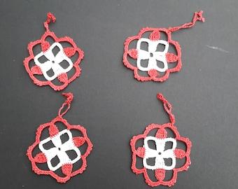 Crochet bookmark red flower