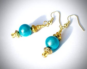 Blue shine drop earrings, Baby blue and gold earrings, gold and blue earrings