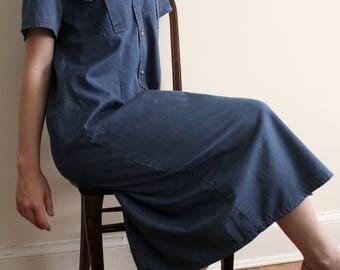 Vintage Oversized Denim Button Down Dress
