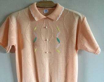 Vintage 70s Romantic Woman Knitted Peach Vest Embroydery Size M