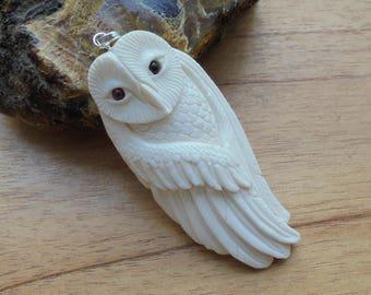 Owl Bone Pendant with Garnet Stone, Bali Bone Carving Jewelry  OWL 01