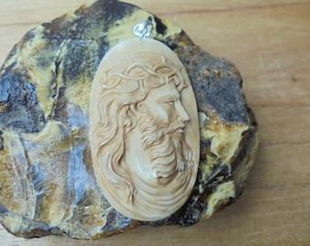 Jesus Christ Pendant, Jesus Carving in Brown Color, Bali Bone Carving JP02