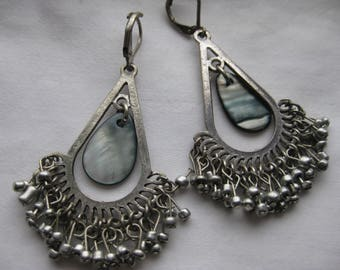 abalone and silver bead chandelier earrings.
