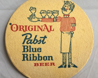 Vintage Set Pabst Blue Ribbon Beer Coaster Pair of Two