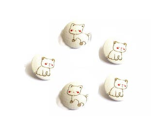 Buttons 28 or 32mm x 5 fabric pattern ivory kitten.