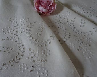 "Beautiful  Vintage hand embroidered ""Whitework"" Irish linen tablecloth 48 x 50"