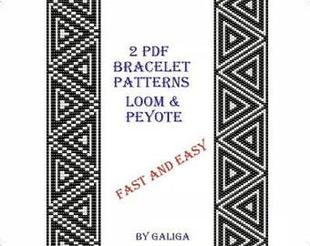 Black and white bracelet pattern Download tutorial Beading instructions Loom bracelet Black jewelry pattern Peyote bracelet Fast and easy